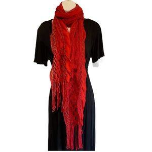 Wrap Scarf Red Open Knit with Lace Shiny Accents